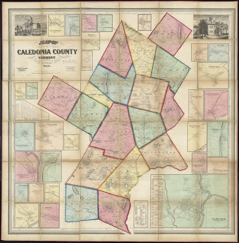 Map of Caledonia County, Vermont