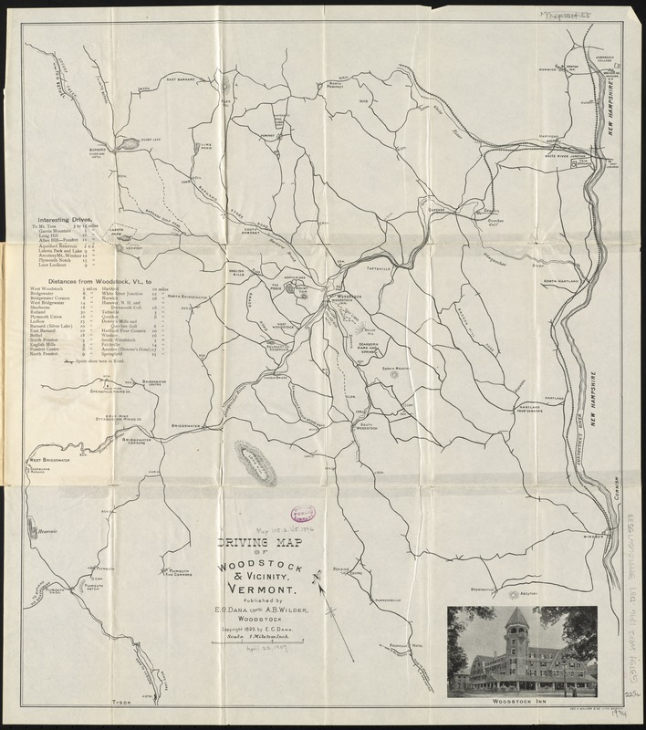 Driving map of Woodstock & vicinity, Vermont