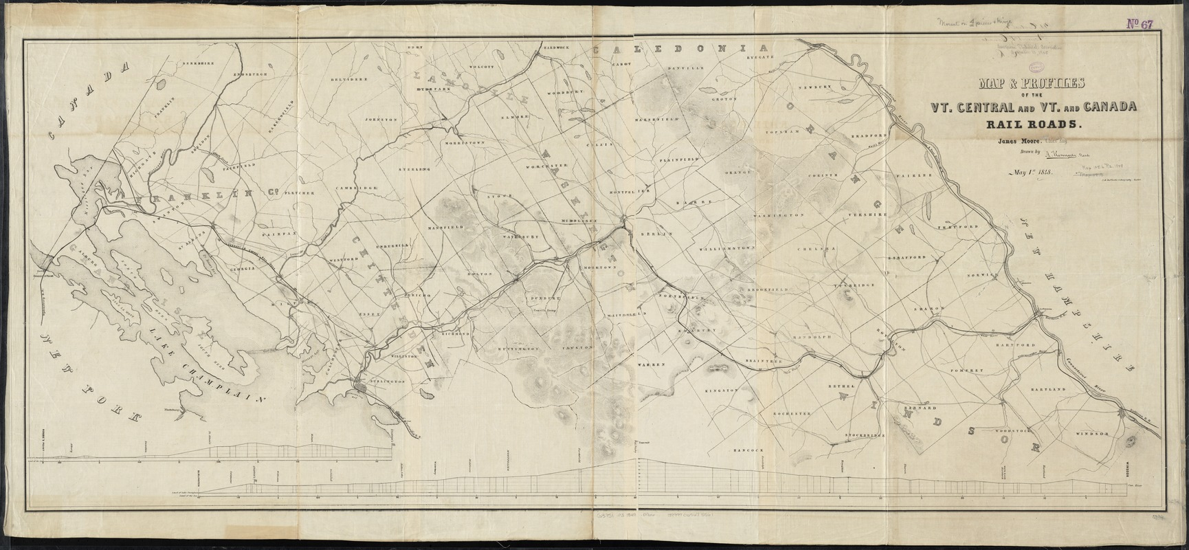 Map & profiles of the Vt. Central and Vt. and Canada Railroads
