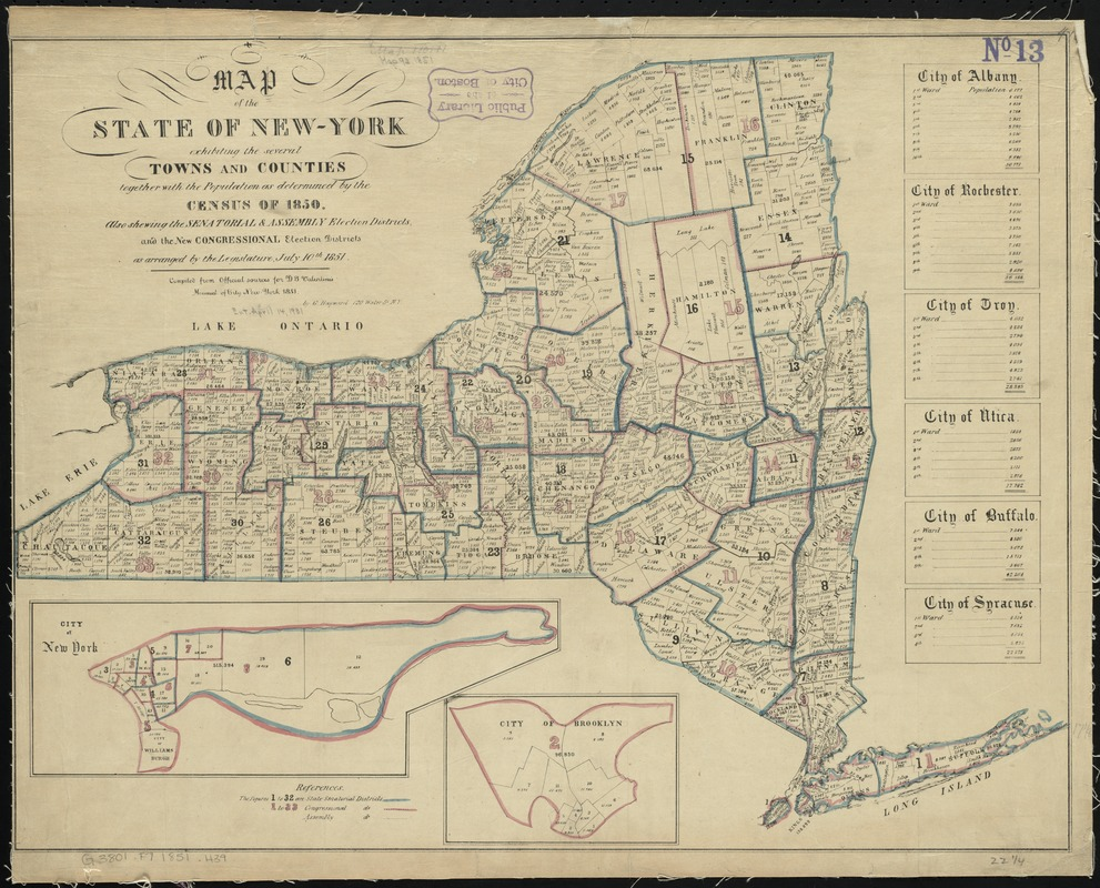 Map of the State of New-York exhibiting the several towns and counties together with the population as determined by the census of 1850, also shweing the senatorial & assembly election districts, and the new congressional election districts