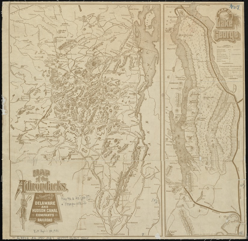 Map of the Adirondacks, as reached by the Delaware and Hudson Canal Companys Railroad ; Map of Lake George