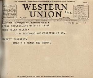 Telegram from Morris S. Frank and Buddy