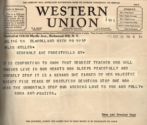 Telegram from Emma and Frazier Hunt