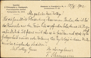 Schumann, Friedrich, 1863-1940 autograph note signed to Hugo Münsterberg, Frankfurt a.M., Ger., 10 October 1912