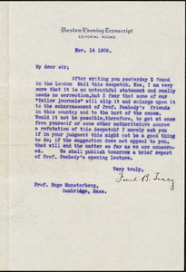 Tracy, Frank B, 1866-1912 typed letter signed to Hugo Münsterberg, Boston, 14 November 1905