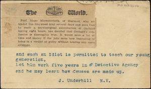 Underhill, J. typed note signed to Hugo Münsterberg, New York, 5 July 1907