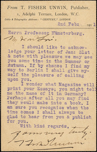 Unwin, Thomas Fisher, 1848-1935 typed card signed to Hugo Münsterberg, London, 2 February 1911