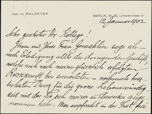 Waldeyer-Hartz, Wilhelm von, 1836-1921 autograph letter signed Hugo Münsterberg, Berlin, 12 January 1902
