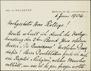 Waldeyer-Hartz, Wilhelm von, 1836-1921 autograph note signed Hugo Münsterberg, Berlin, 06 June 1904