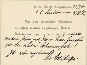 Waldeyer-Hartz, Wilhelm von, 1836-1921 autograph letter signed Hugo Münsterberg, Boston, 08 August 1911