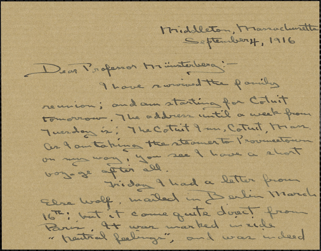 Wilkens, Zora Putnam autograph letter signed to Hugo Münsterberg, Middleton, Mass., 04 September 1916