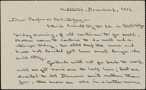 Wilkens, Zora Putnam autograph letter signed to Hugo Münsterberg, Middleton, Mass., 06 December 1916