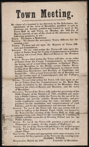 Announcement of town meeting including major warrant articles 1857