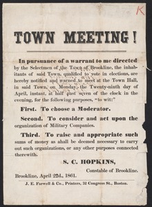 Announcement of town meeting, including warrant articles 1861