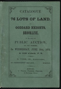 Catalogue of 76 lots of land on Goddard Heights for a land auction, includes a map