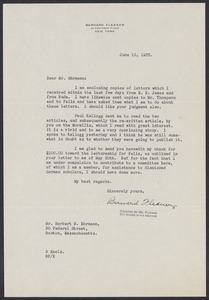 Herbert Brutus Ehrmann Papers, 1906-1970. Sacco-Vanzetti. Correspondence re: research and publication of The Untried Case, 1928-1937. Box 2, Folder 19, Harvard Law School Library, Historical & Special Collections