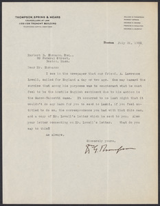 Herbert Brutus Ehrmann Papers, 1906-1970. Sacco-Vanzetti. Correspondence re: research and publication of The Untried Case, 1928-1937. Box 2, Folder 20, Harvard Law School Library, Historical & Special Collections