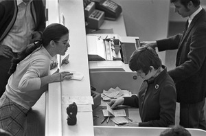 Bank customers and tellers, East Boston