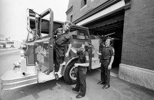Firemen and rig at fire station, Brockton