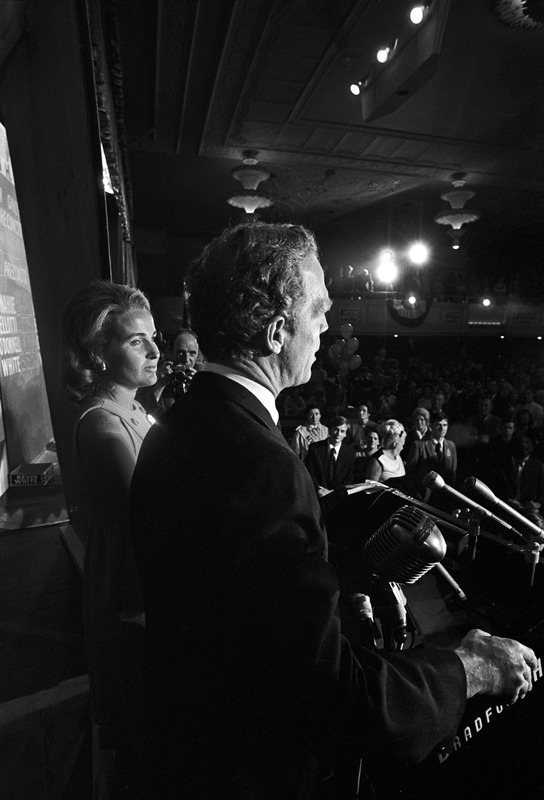 Mayor Kevin White and wife on election night, Boston