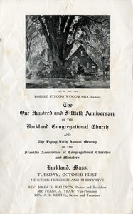 Buckland Congregational Church 150th Anniversary Program, Buckland, Mass., 1935