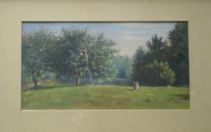 Edwin Romanzo Elmer chalk painting of apple orchard, Buckland, Mass.