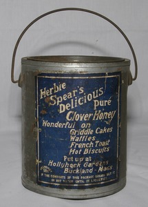 Herbie Spear's Pure Clover Honey tin container, Buckland, Mass., circa 1930