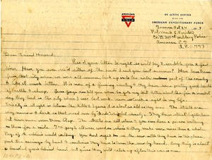 Letter from WWI soldier Mark L. Purinton, Buckland, Mass., 1918