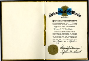 National Grange Golden Sheaf Certificate, Pearl C. Wilder, Buckland, Mass., 1966