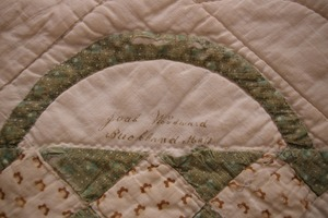 Quilt, single square signed by Joab Woodward, Buckland, Mass., circa 1860