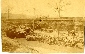 Ox and horse carts in East Longmeadow quarry