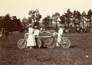 Immortelle Bicycle Team. Misses Allen, Perkins, Cutler. Greenfield Coaching Parade 1897 photo 7