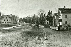 View from town center, Main Street Hopkinton looking east, ca 1890's