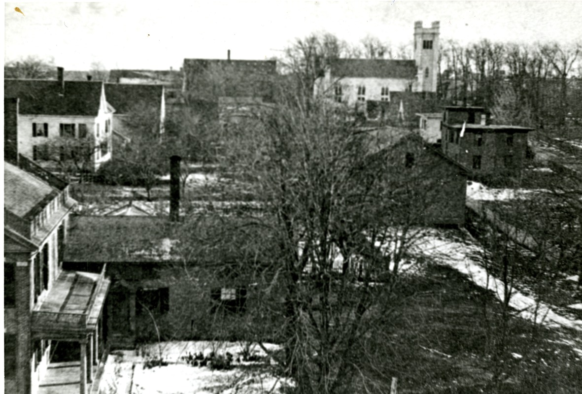 View of Church Street as seen from Highland House, Hopkinton ca 1880