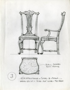 Chippendale side and arm chair design