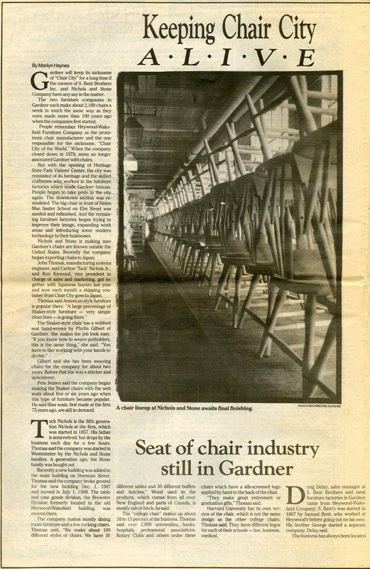 Keeping Chair City Alive Gardner Today News And Entertainment Weekly May 10 1989