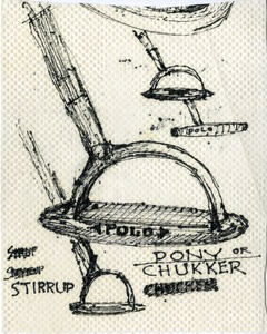 Paper towel sketch of a stirrup