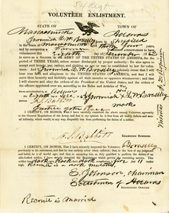 Civil War enlistment papers for Jeremiah L. W. Bradley, 54th Massachusetts Infantry Regiment