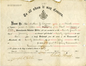 Discharge papers for Arthur J. Largesse, 1899