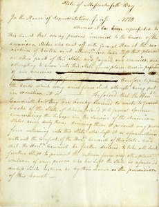 Resolve of Court of the House of Representatives, January 7, 1778