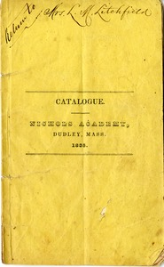 Nichols Academy Catalogue, Dudley, Mass., 1835