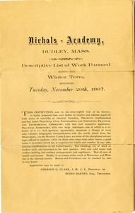 Nichols Academy: Descriptive List of Work Pursued during the Winter Term, 1887
