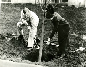 Calvin and Grace Coolidge Plant a Tree on Arbor Day