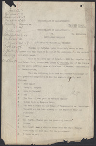 Sacco-Vanzetti Case Records, 1920-1928. Commonwealth v. Vanzetti (Bridgewater Trial). Affidavit of William J. Callahan, n.d. Box 2, Folder 1, Harvard Law School Library, Historical & Special Collections