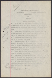 Sacco-Vanzetti Case Records, 1920-1928. Commonwealth v. Vanzetti (Bridgewater Trial).Request for Rulings, 1920. Box 2, Folder 5, Harvard Law School Library, Historical & Special Collections
