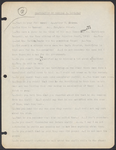 Sacco-Vanzetti Case Records, 1920-1928. Commonwealth v. Vanzetti (Bridgewater Trial). Examination of Jurors in regard to shells opened by Foreman Burgess in the Bridgewater Trial: Arthur W. Bourne, 1920. Box 2, Folder 7, Harvard Law School Library, Historical & Special Collections