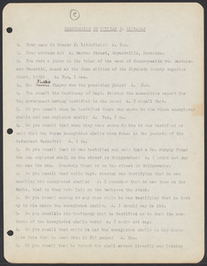 Sacco-Vanzetti Case Records, 1920-1928. Commonwealth v. Vanzetti (Bridgewater Trial). Examination of Jurors in regard to shells opened by Foreman Burgess in the Bridgewater Trial, Edmund P. Litchfield. Box 2, Folder 11, Harvard Law School Library, Historical & Special Collections