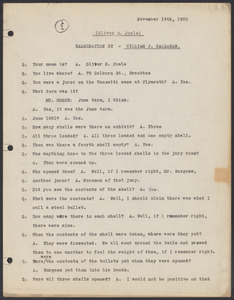 Sacco-Vanzetti Case Records, 1920-1928. Commonwealth v. Vanzetti (Bridgewater Trial). Examination of Jurors in regard to shells opened by Foreman Burgess in the Bridgewater Trial: Oliver B. Poole, 1920. Box 2, Folder 14, Harvard Law School Library, Historical & Special Collections