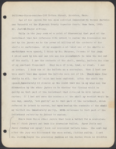 Sacco-Vanzetti Case Records, 1920-1928. Commonwealth v. Vanzetti (Bridgewater Trial). Examination of Jurors in regard to shells opened by Foreman Burgess in the Bridgewater Trial: Simon Sullivan, 1920. Box 2, Folder 16, Harvard Law School Library, Historical & Special Collections