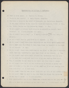Sacco-Vanzetti Case Records, 1920-1928. Commonwealth v. Vanzetti (Bridgewater Trial). Examination of Jurors in regard to shells opened by Foreman Burgess in the Bridgewater Trial: Charles C. Wilbur, 1920. Box 2, Folder 17, Harvard Law School Library, Historical & Special Collections